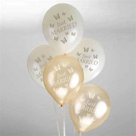 Butterfly wedding balloons ivory amp gold
