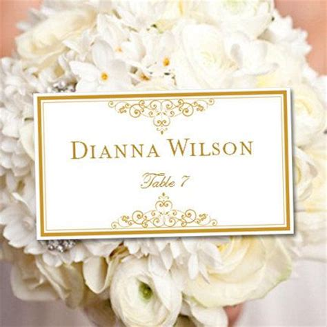 instant download wedding place card template chic bouquet