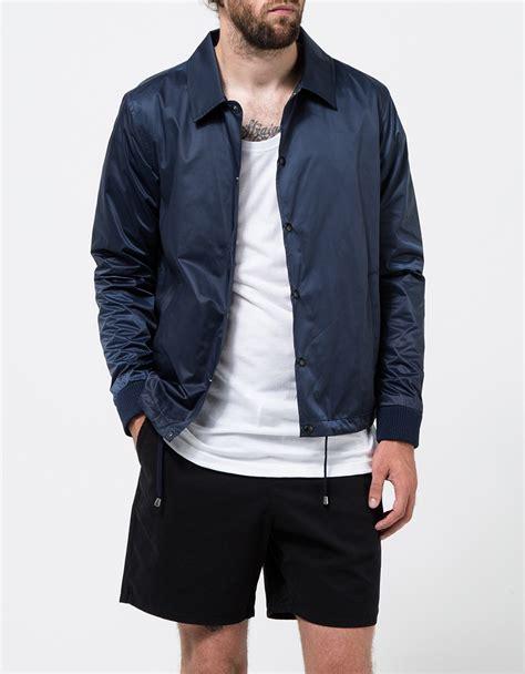 Zip Through Coach Jacket topman navy coach jacket in blue for lyst