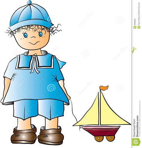 toy boats cartoon boy and toy boat cartoon stock vector illustration of
