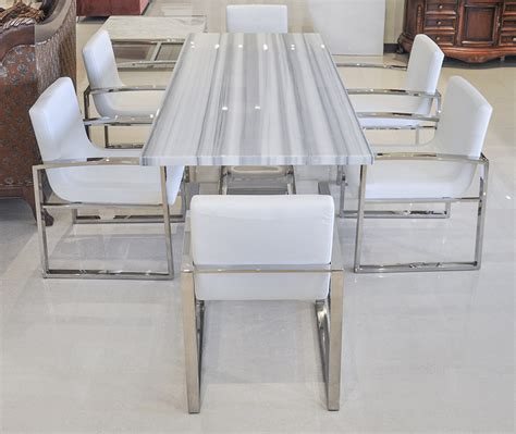 Fancy white marble dining table marble dining table design