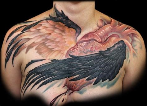wings on chest tattoo wings tattoos