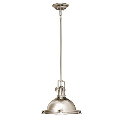 Kichler 1 Light Industrial Pendant 2665pn Polished Pendant Light