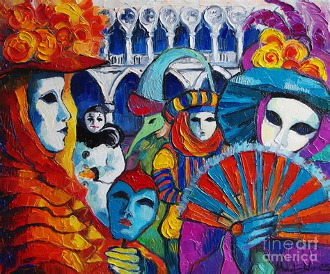 Curtains 80 Inches Long Venice Carnival Painting By Mona Edulesco