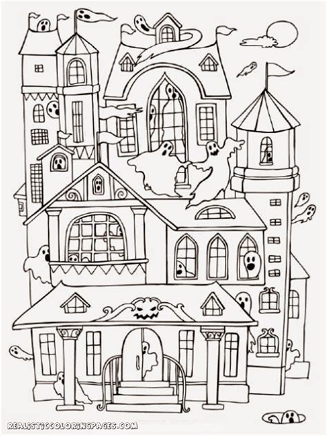 Coloring Pages Of Haunted House | halloween haunted house coloring pages realistic