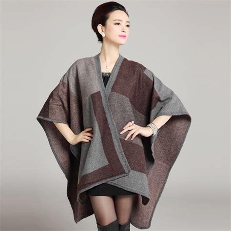 Plaid Woolen Cape Cardigan 15946 2016 new winter warm plaid knit cardigan shawl blanket