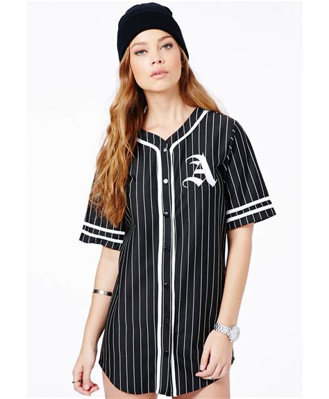 Dress Dress By Mlb missguided oversized a baseball shirt dress in black in black lyst