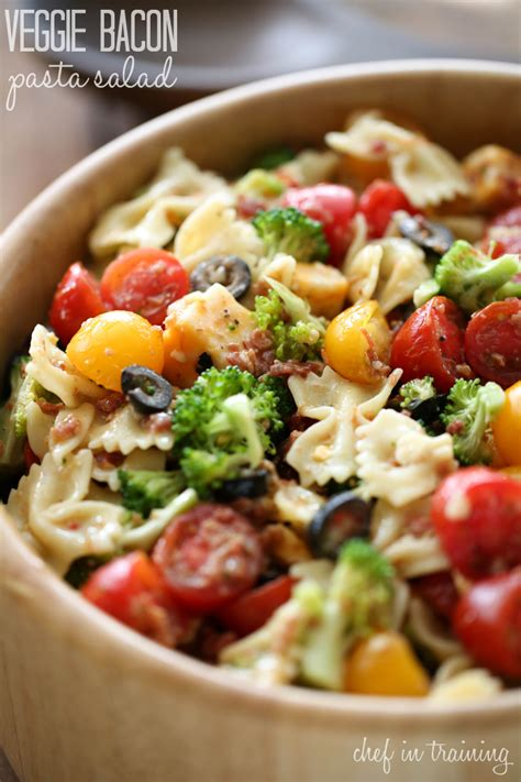 pasta salad vegetarian veggie bacon pasta salad chef in training