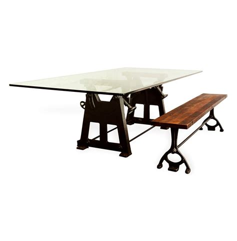 industrial glass dining table bartley industrial reclaimed cast iron glass dining table