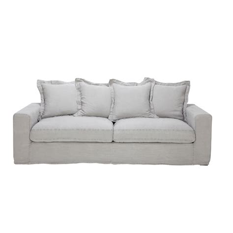 linen sofa bed linen sofa bed in light grey seats 3 4 barnabe barnabe