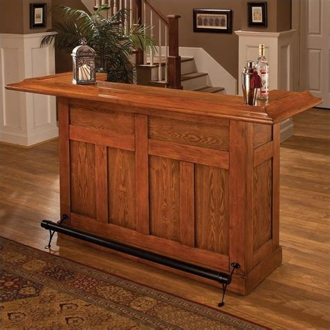 hillsdale classic oak large unit home bar