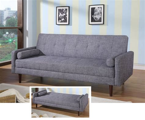 Contemporary Grey Or Orange Fabric Sofa Sleeper Hardwood Modern Grey Sofa