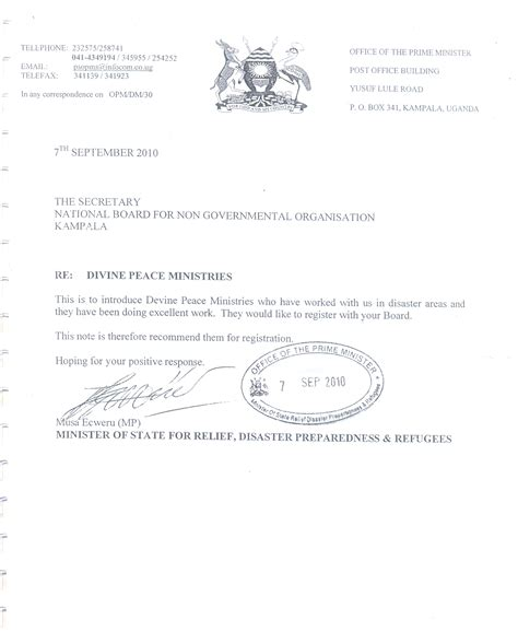 Recommendation Letter For Ngo Peace Ministries Corporate Ngo Partnerships