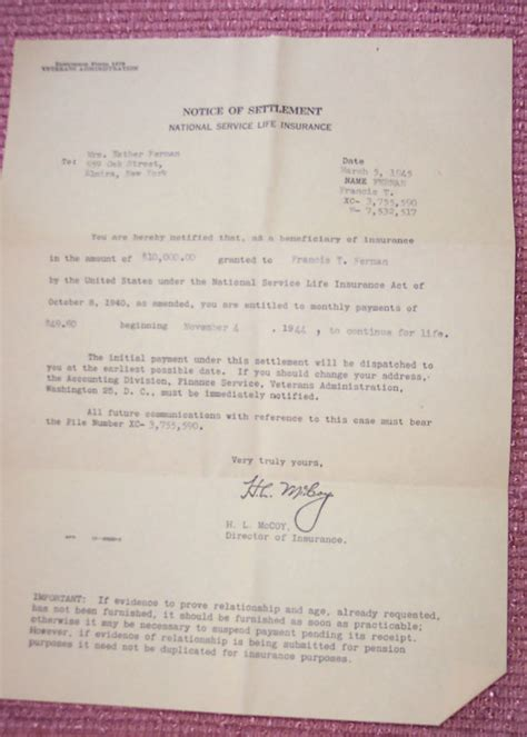 National Insurance Letters Years Heroesforever Nl Francis T Fernan