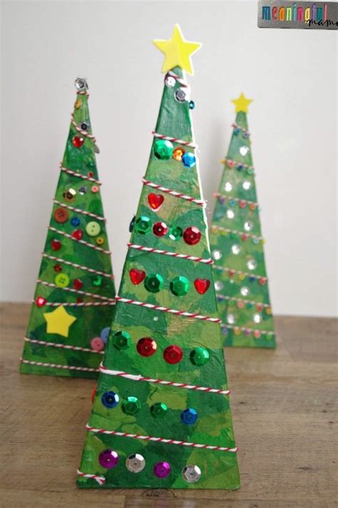 Tissue Paper Tree Craft - 3 d pyramid tree craft tree crafts tissue