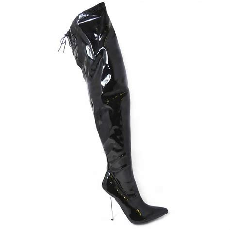 High Heels S22 francis mens sizes zip up lace detail thigh high boots