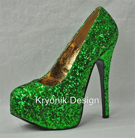 green glitter high heels bordello shoes teeze 06g green glitter platform pumps