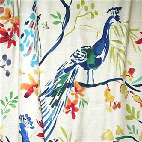drapery fabric with birds tailfeathers jewel green peacock bird floral cotton