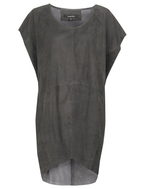 shelby suede t shirt dress in granite grey