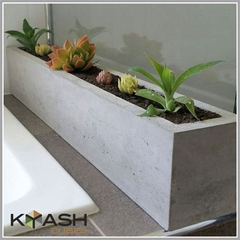 polished concrete planter large rectangular mm