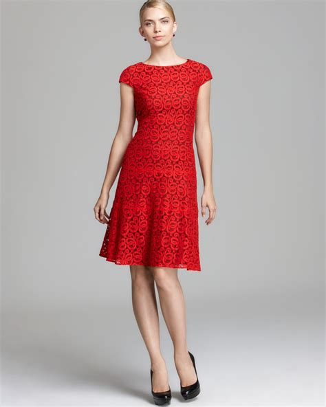 anne klein swing dress anne klein lace swing dress cap sleeve in red cardinal