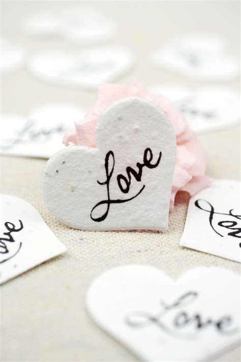 Handmade Paper Love Hearts Seeded Paper 50 Pieces
