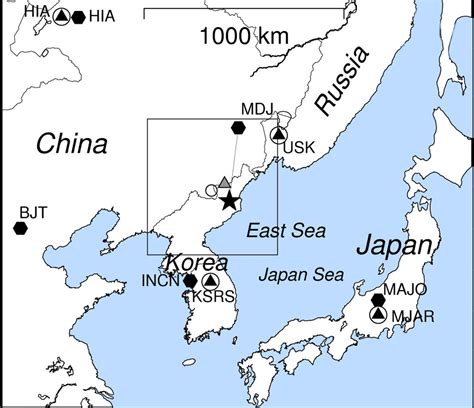 map of korea and surrounding countries korean blast outdid 2006 nuke test the earth