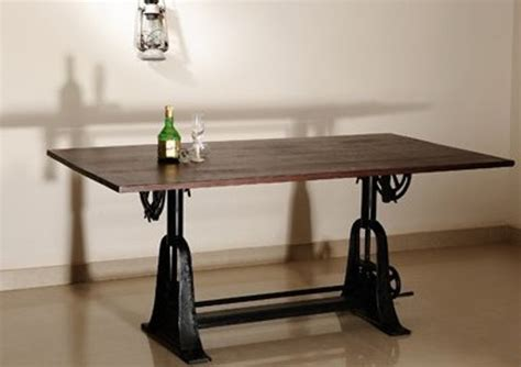 Adjustable Crank Dining Table With Mango Wood Top Industrial Dining » Home Design 2017