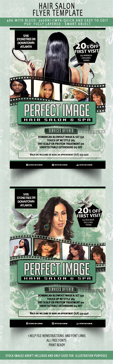 beauty hair salon flyer template download now on behance