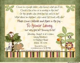 jungle jingle baby shower invitation custom wording boy