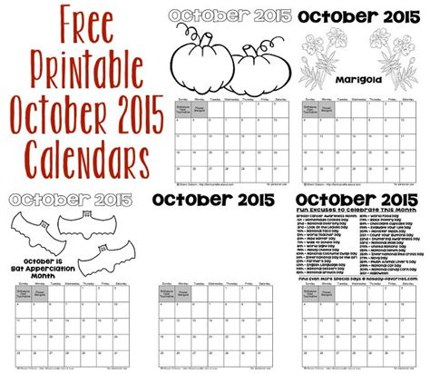 printable calendar october 2015 with holidays printable october 2015 calendars holiday favorites