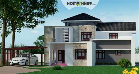 home designers attractive fusion style indian villa design in 2439 sqft