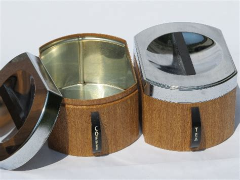60s vintage striped metal kitchen canisters retro canister set with retro mod 60s wood grain vintage kromex metal kitchen