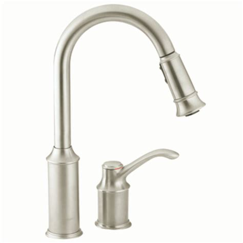 kitchen faucet handle moen 7590csl aberdeen one handle high arc pulldown kitchen