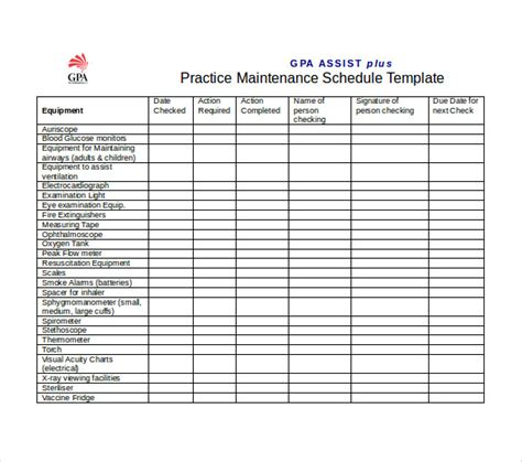 equipment maintenance schedule template equipment maintenance schedule template excel schedule