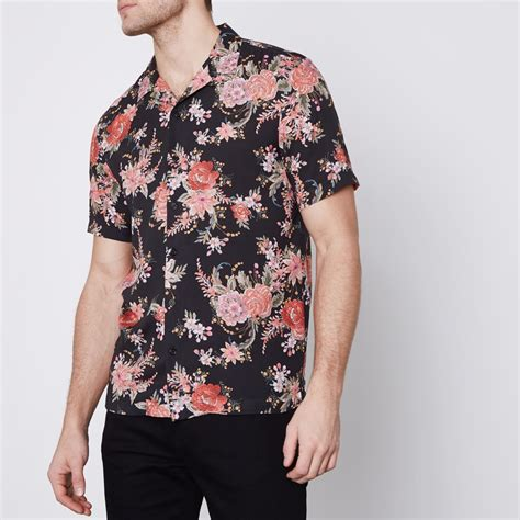 Sleeved Print Shirt black floral print sleeve revere shirt