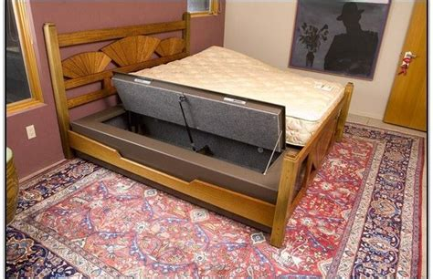 diy  bed gun safe beds  bed frames pinterest