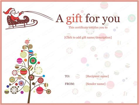 christmas ball trees gift certificate template christmas gift certificate template gift
