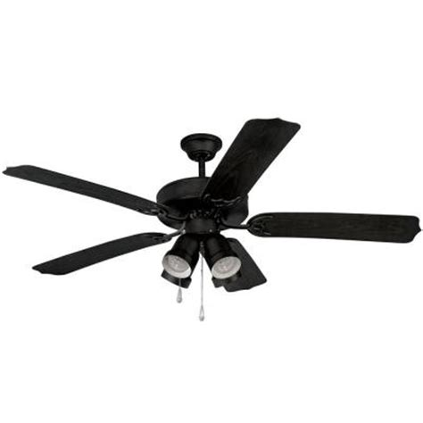 Black Ceiling Fan With Light Kit by Yosemite Home Decor 52 In Outdoor Black Frame