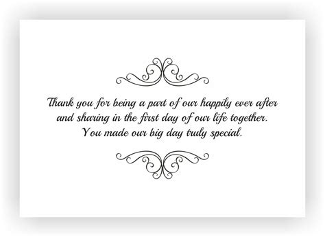 thank you for our wedding gift cards thank you note to accompany your wedding return gift