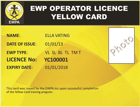 Scissor Lift Certification Card Template by Ewpa Yellow Card Sydney Scissor Lift