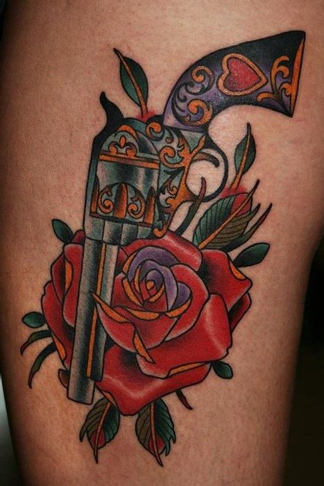tattoo old school revolver pistol and rose tattoo tattoo designs