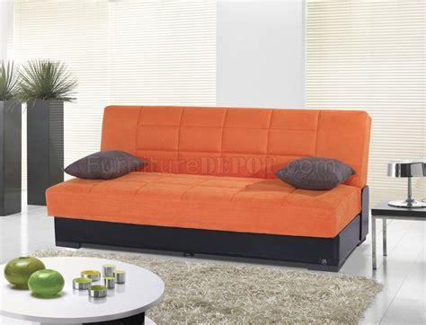Orange Microfiber Sofa by Planet Sofa Bed Convertible In Orange Microfiber By