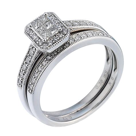 9ct white gold half carat bridal ring set h samuel