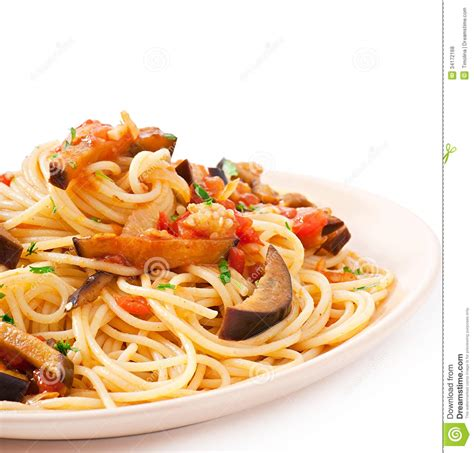 Sweet Tomatoes Gift Card - spaghetti with fried eggplant and tomatoe royalty free stock photos image 34172168