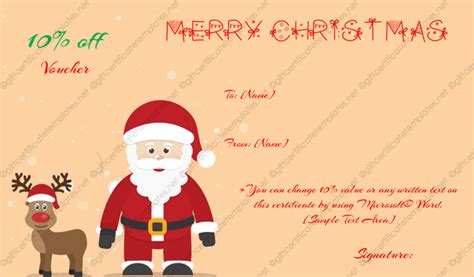 free printable gift cards from santa christmas gift certificate template 12