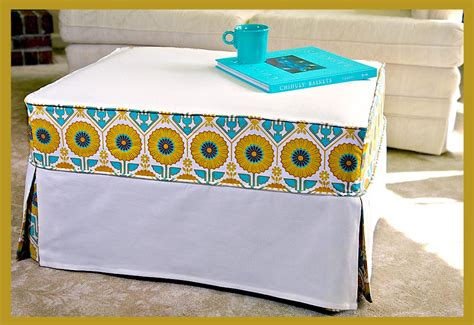 how to make ottoman cover chic slipcover makes an old ottoman new and cool again