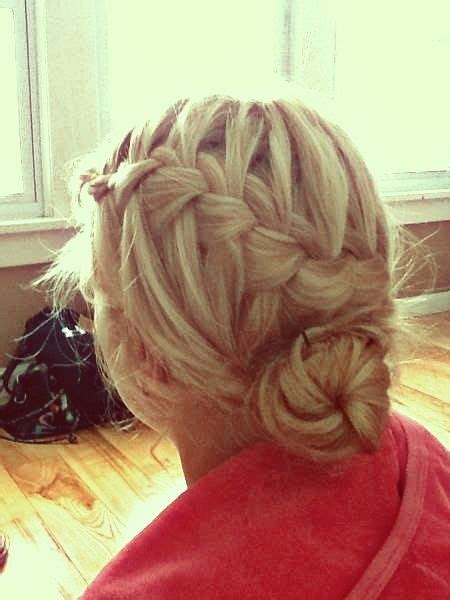 waterfall braid bun 28 diy hairstyles waterfall braid bun hairstyles pinterest updo
