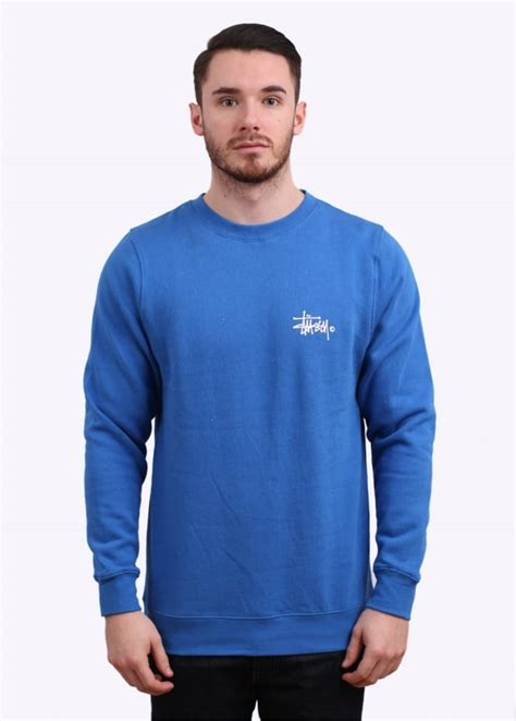 Hoodie Sweater Stussy 1 stussy basic logo crew sweater marina blue