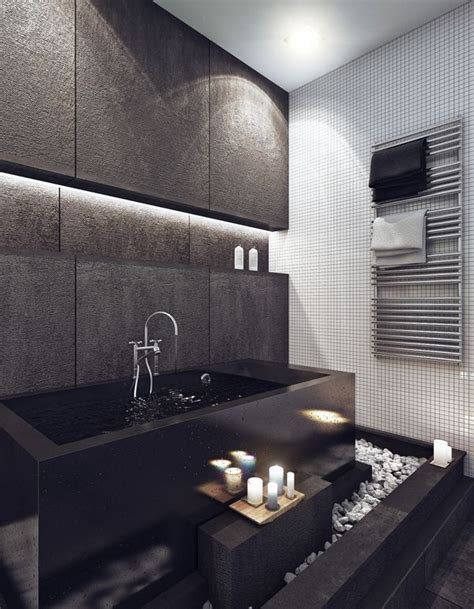Modern Bathroom Grey And White Minimalist Bachelor Pad Brings Sleek Style To The Single